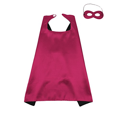 70CM X 70CM Reversible Superhero Cape+Eye Mask Halloween Costume for Kids, Adult, Men, Women, hot pink&black (Hot Male Superhero Costumes)