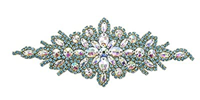 ModaTrims Hot-Fix or Sew-On Beaded Crystal Rhinestone Applique For Bridal Belt Wedding Sash