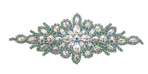 ModaTrims Hot-Fix or Sew-On Beaded Crystal Rhinestone Applique for Bridal Belt Wedding Sash (AB and Turquoise Crystals, Gold Cups, 9 inch x 3 -