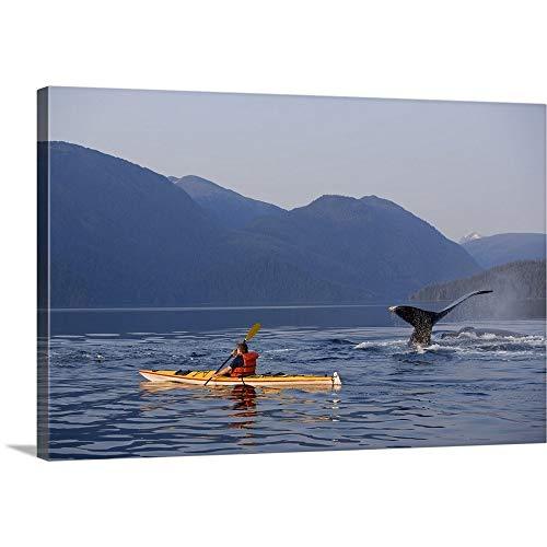 - GREATBIGCANVAS Gallery-Wrapped Canvas Entitled Man Sea Kayaking Near Swimming Pod of Humpback Whales, Southeast Alaska by John Hyde 18