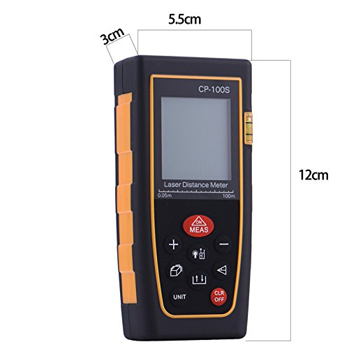Portable 328ft Precision Self-Calibrated Laser Measuring Tape Features Advance Measurement Capabilities as Pythagorean Mode, Area and Volume Auto Calculation on LCD Display(CP-100S)
