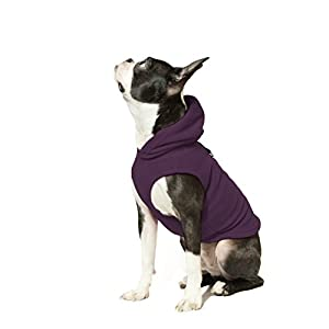 Gooby - Fleece Vest Hoodie, Small Dog Pull Over Hooded Fleece Jacket with Leash Ring, Plum, Small