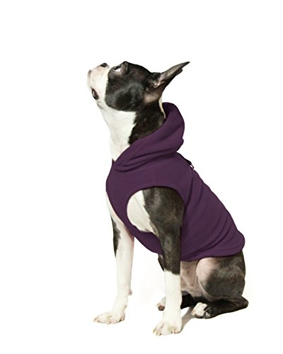 Gooby - Fleece Vest Hoodie, Small Dog Pull Over Hooded Fleece Jacket with Leash Ring, Plum, Large ()