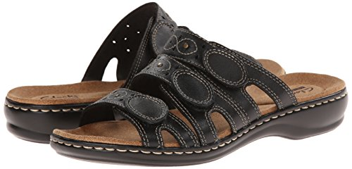CLARKS Women's Leisa Cacti Slide Sandal, Black Leather, 8 M US