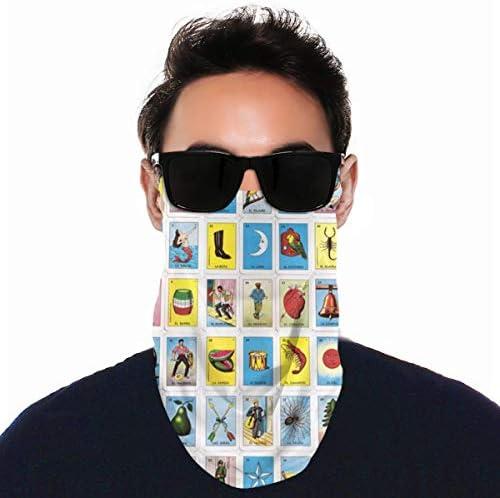 フェイスカバー Uvカット ネックガード 冷感 夏用 日焼け防止 飛沫防止 耳かけタイプ レディース メンズ Colorful Mexican Loteria Cards