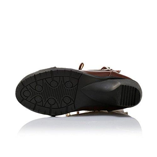 A&N Womens Chunky Heels Lace-Up Buckle Short Plush Boots Black twFEQoYr