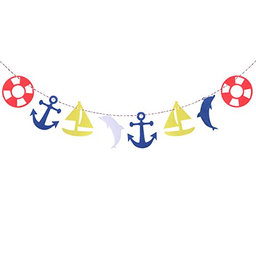 Tinksky Mediterranean Summer Style Kids Bedroom Decorative Garland Banners Anchor Sailing Boat Dolphin Soccer Bunting Flag Decoration Ornaments For Children Birthday Party Decor (Fools Ball Table)
