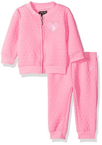 Girls 3 Piece Sweater (U.S. Polo Assn. Baby Girls' 2 Piece Fleece Jog Set, Neon Pink, 3-6 Months)