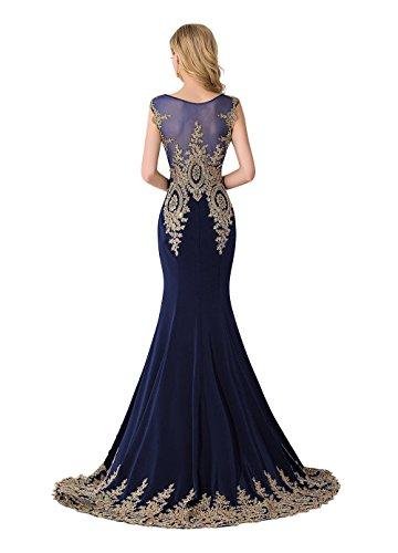 Gr Lange 32 46 Navyblau Festlich Damen Ballkleider Meerjungfrau Ärmellos MisShow Brautjungfernkleid Abendkleid g8wqpp