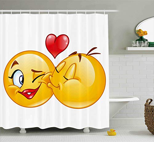 Ambesonne Emoji Shower Curtain, Romantic Flirty Loving Smiley Faces Couple Kissing Eachother Hearts Image Art Print, Fabric Bathroom Decor Set with Hooks, 70 Inches, Yellow Red (Kissing Hearts)
