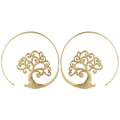 14K Gold Spiral Hoop Earrings Stud Bohemian Vintage Tribal Swirl Style Adjustable Earrings Jewelry Set for Women(Style:tree)