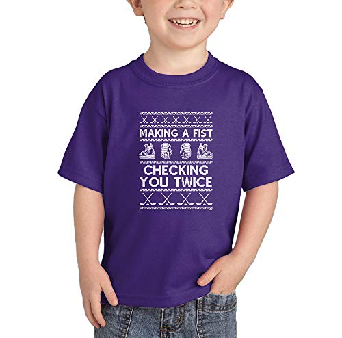 Snowman 18 Team (Making A Fist, Checking You Twice - Infant/Toddler Cotton Jersey T-Shirt (Purple, 18 Months))