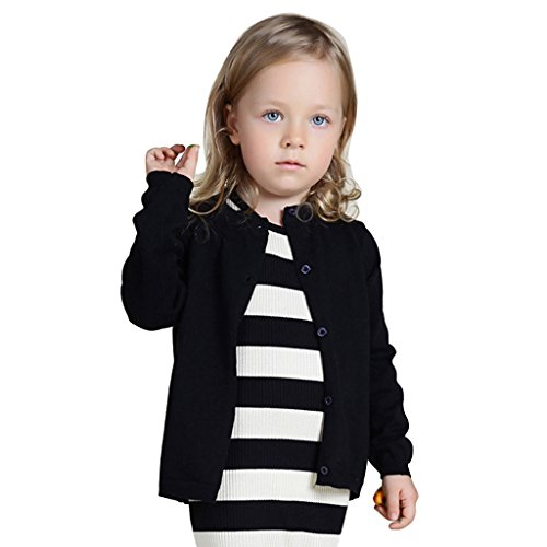 Wennikids Baby Girls' Little Knit Cardigan Button Sweater for 12M-6T 3X-Large Black
