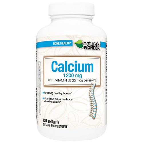 Nature's Wonder Calcium 1200mg with Vit D3 25 mcg Supplement, 120 Count