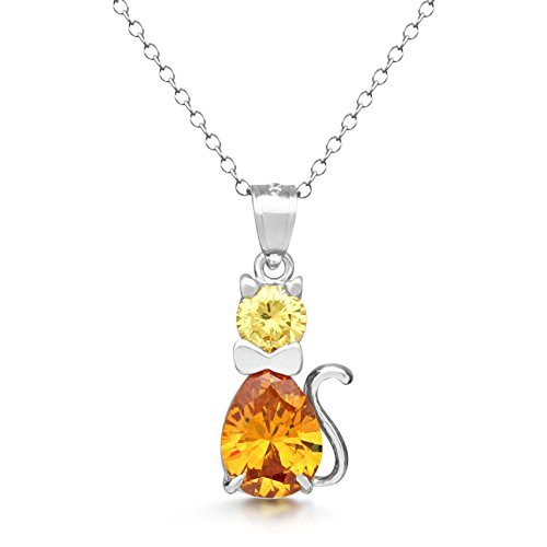 DTLA Sterling Silver Fancy Simulated Birthstone CZ Cat Charm Pendant Necklace with 18