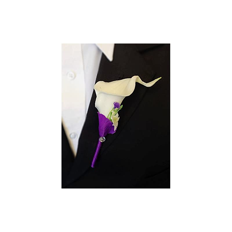 silk flower arrangements angel isabella set of 8:real touch quality calla lily boutonniere-purple,natural white.(artificial flower)