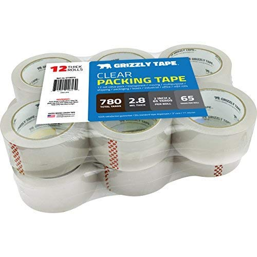 Grizzly Brand Clear Packing Tape Refill Rolls for Shipping, Moving, Packaging - True 2 inch x 65 Yards, 2.8mil Thick, 12 Rolls Photo #7