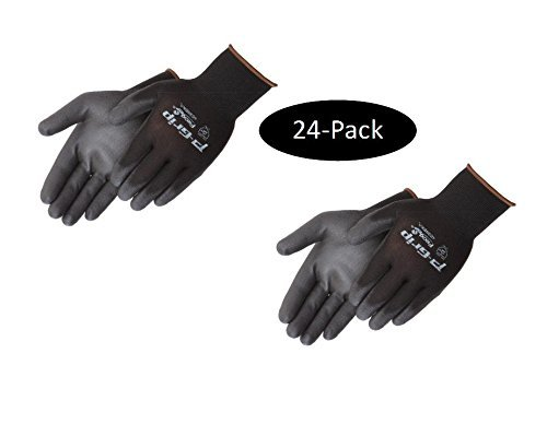 Medium Shell Grip - Liberty P-Grip Ultra-Thin Polyurethane Palm Coated Glove with 13-Gauge Nylon/Polyester Shell, Medium, Black (Pack of 24)