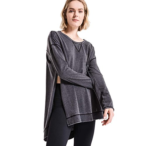 Z SUPPLY Women's The Weekender Crew Neck Long Sleeve Top, Black, Small