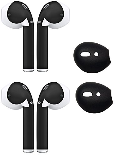 AirPod Skins & Ear Tips Bundle - Silicone Ear Tips With Protective Wraps - Style & Comfort For Your AirPods (Matte Black) Photo #5