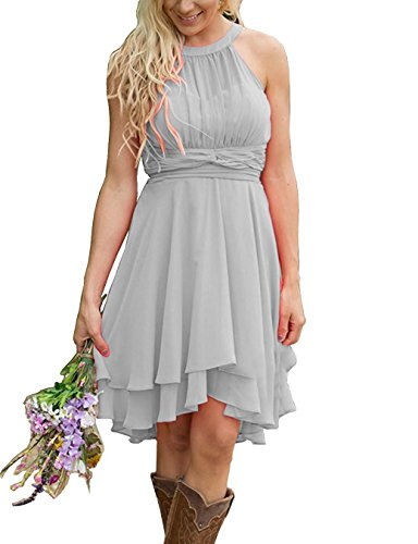Meledy Women's Knee Length Country Bridesmaid Dresses Western Wedding Guest Dresses Short Maid of Honor Gown Light Grey US04