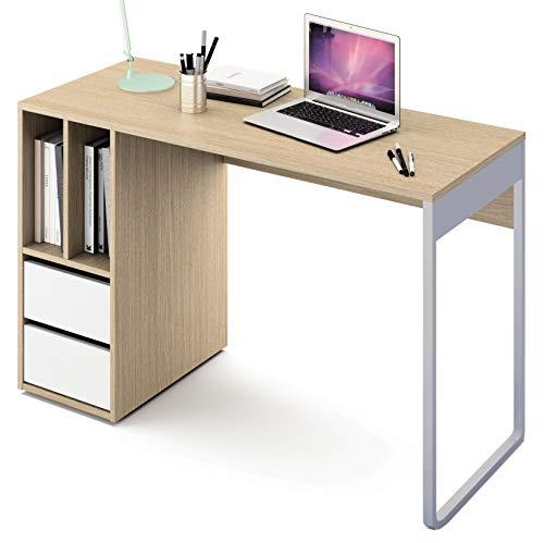 Abitti Escritorio Mesa de Ordenador Multimedia Color Roble y Blanco, Pata metalica, 2 cajones y 2 Huecos para Oficina, despacho o Estudio.120cm Ancho x 74cm Altura x 50cm Fondo