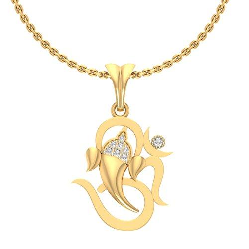 Or jaune 14K 0,06CT TW Round-shape Diamant (IJ | SI) diamant Pendentif
