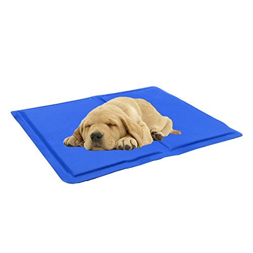 QBLEEV Pet Cooling Gel Pad Self Cooling Mat Ice Sleeping Mat Comfort Non-Toxic Cold Mat for Dogs Cats Blue (XS)