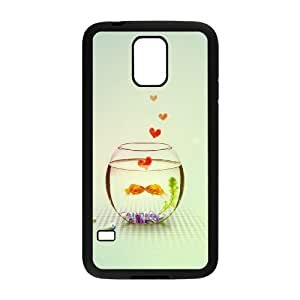 {Love Series} Samsung Galaxy S5 Case Kissing Love Fish Couple in Aquarium Ilike, Case Dustin - Black