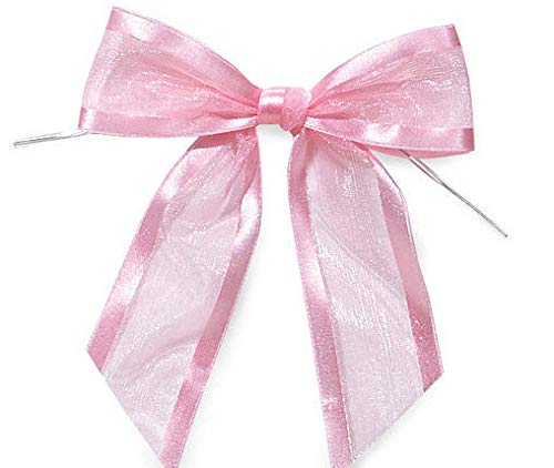 Light Pink Pre-Tied Organza Bows with Twist Ties. Pack of 12 Satin-Edged Fabric Bows Made of 1-1/2