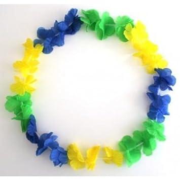 Blumenkette / Hawaiikette blau-grün-gelb Brasilien: Amazon.de ...