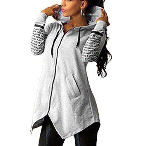 ASCHOEN Damen Hoodie Sweatshirts Sport Kapuzen Print Zipper Pocket Pullover Top Grau S