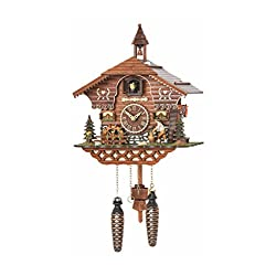Trenkle Quartz Cuckoo Clock Black Forest House with Moving Wood Chopper and Mill Wheel, with Music TU 4217 QM