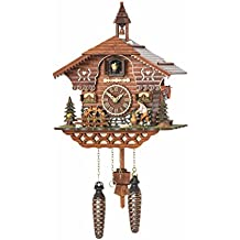 Trenkle Uhren Quartz Cuckoo Clock Black Forest house with moving wood chopper and mill wheel, with music TU 4217 QM