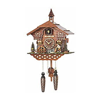 Image of Home and Kitchen Trenkle Quartz Cuckoo Clock Black Forest House with Moving Wood Chopper and Mill Wheel, with Music TU 4217 QM