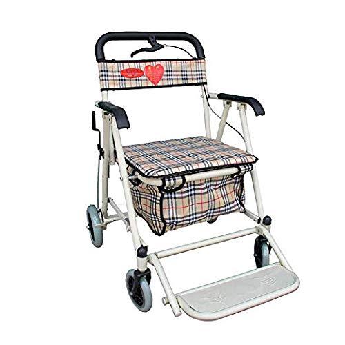 CYHWDHW Carro de Compras Plegable para Ancianos, Empuje de Cuatro ...