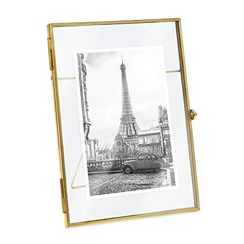 Isaac Jacobs 5x7, Antique Gold, Vintage Style Brass and Glass, Metal, Floating Desk Photo Frame (Vertical), with Locket Bead Clasp Closure for Pictures Art, More (5x7)