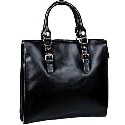 Yahoho Women's 3-Compartment Top Handle Handbag Office Lady Genuine Leather Cross Body Shoulder Bag Fit IPAD