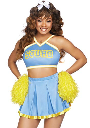 Cheerleading Uniforms Costumes (Leg Avenue Women's Cheerleader Cutie Costume, Blue/Yellow,)