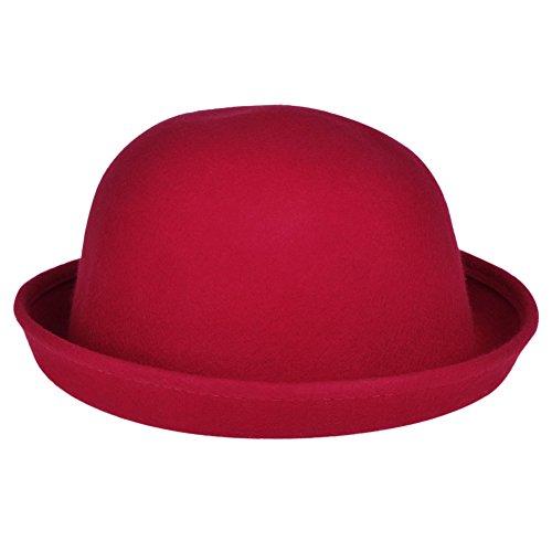 Vbiger Women Woolen Roll-up Brim Fedora Bowler Hat (Dark Red)