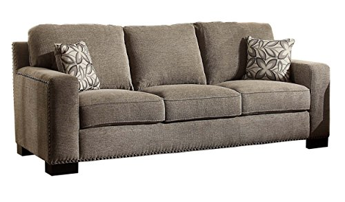Homelegance Gowan Upholstered Modern Track Arm Design Sofa with Nail Heads Trim Accent Chenille With Floral Toss Pillow, Gray