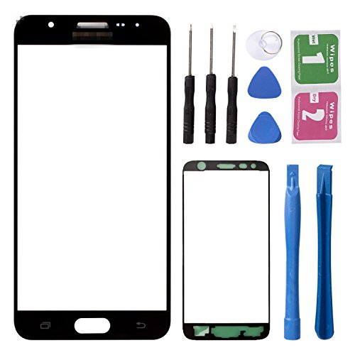 (Replacement Repair Front Outer Top Glass Lens Cover Screen for Samsung Galaxy J5 Prime ON5 G5520 G5510 G5700 Mobile Phone Curved Surface Parts (NO LCD and Touch Digitizer))