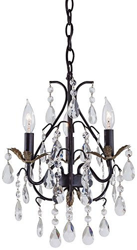 Minka Lavery 3122-301 3 Light Mini Chandelier, Castlewood Walnut with Silver Highlights Finish, 12″ x 13.25″ x 18.25″ For Sale