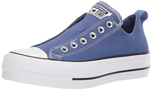 Converse Women's Chuck Taylor All Star Lift Slip On Sneaker, Washed Indigo/Black/White, 8.5 M US (Converse Chuck Taylor All Star Platform Low Top)