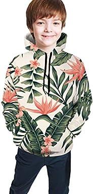 JIAU HUA Hawaii Palm Trees and Flowers Kids Hoodies Pullover 3D Print Cool Hooded Sweatshirts,