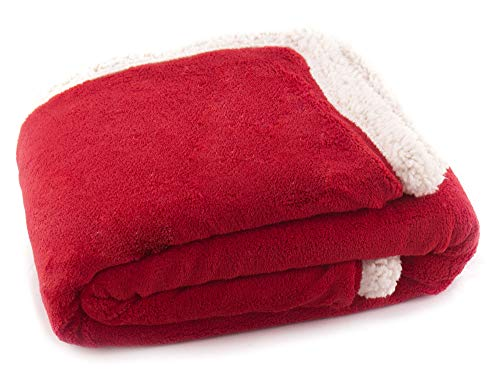 (Simplicity Warm Solid Color Blanket Bed Cover for Dogs and Cats, Red)