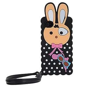 Black Cartoon Rabbit Pattern Silica Gel Soft Case with Belt for iPhone 5