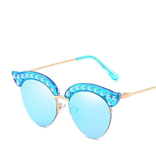 Fashion Sonnenbrille Halbrahmen Vintage Cat Eye Pearl Nieten Blendschutz Unisex Fahren Reise Brille,Gray
