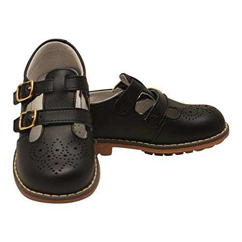 - L`Amour Unisex Black Double T-Strap Buckled Leather Mary Jane Shoes 7 Toddler
