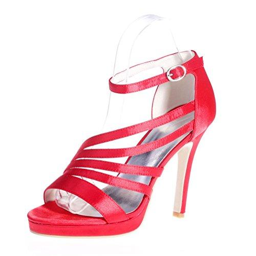 Couleur Multi amp; Nuit Leggings Sandales YC de Toe Cuir L 23 red Fête 5915 Peep Femme en OZn7w